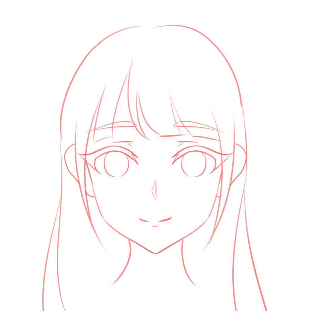 How to draw the head and face - anime-style guideline front view