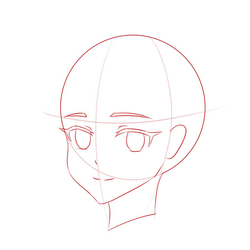 Example drawing anime head 3/4 view