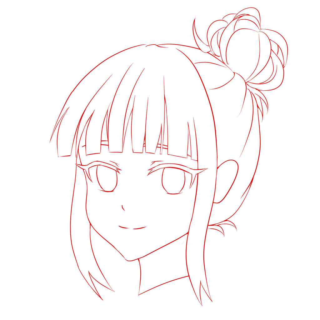 Draw anime face in 3/4 view step 4