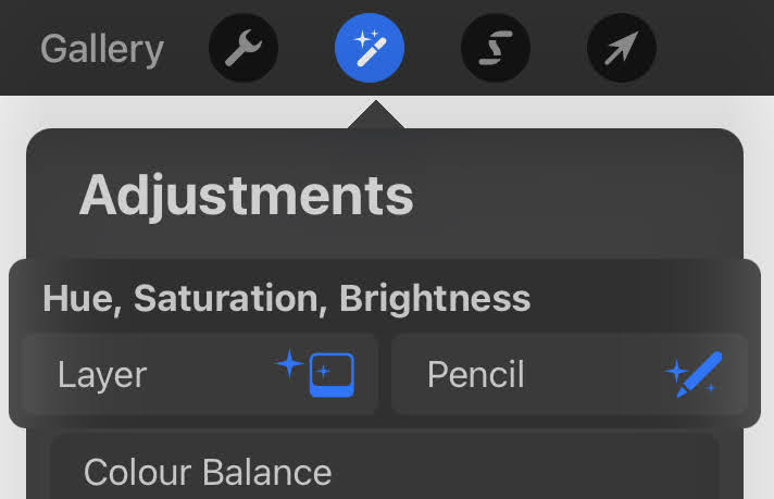 procreate adjustment tab layer and pencil mode